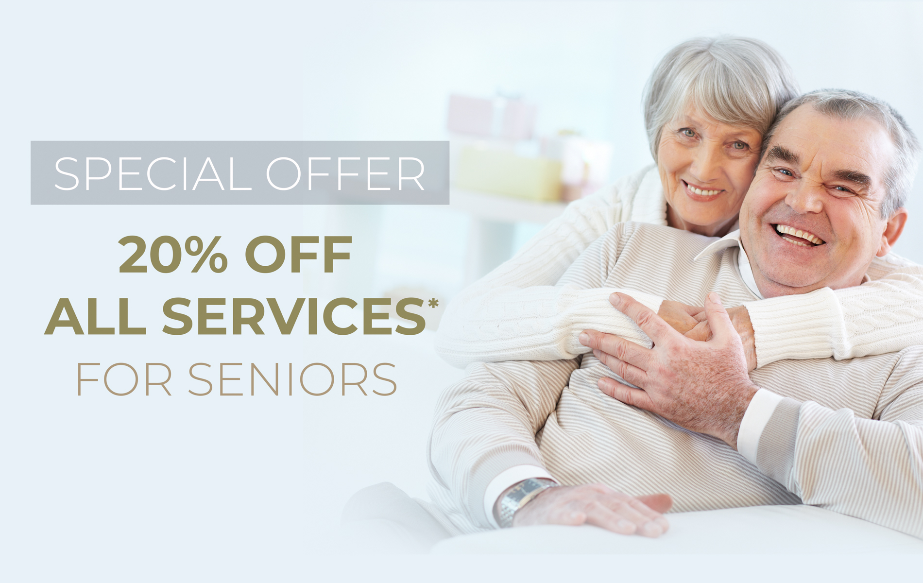 Portrait of a happy senior woman embracing her husband 20% off services for seniors